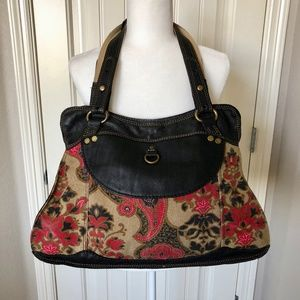 Lucky Brand Boho Floral Canvas and Leather Bag